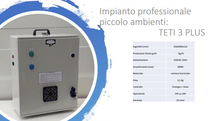 generatore di ozono per la sanificazione dell'aria TETI 3 plus